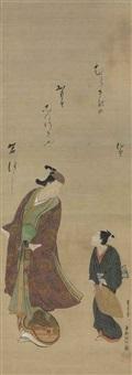 actor and assistant with haiku poem by okumura masanobu