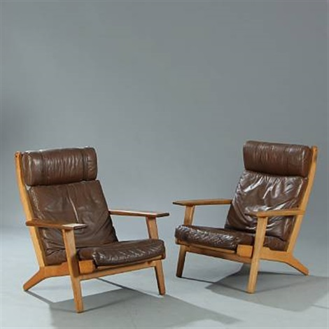 Highback Easy Chairs (model Ge290) (pair) By Hans J. Wegner