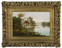 orientalist view of an indian palace beside a river with shipping and distant hills by daniel charles grose