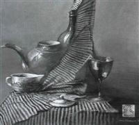 stilleben mit teekrug, tasse und weinglas by a. kratsov