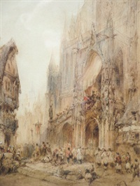 procession before a french cathedral by paul marny