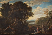 landscape with figures and cattles by gaspar de witte