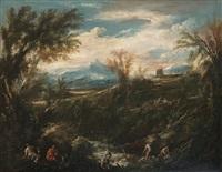 landschaft mit figuren und wäscherinnen (collab. w/circle) by antonio francesco peruzzini