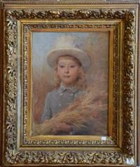 portrait de fillette au chapeau by eugène verdyen