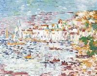sommerliche hafenpartie an der côte d'azur by jean-louis piguet