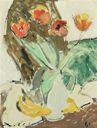 still life with tulips in a vase by borge bokkenheuser