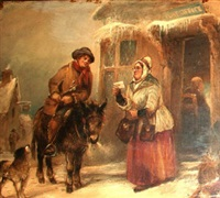 the post boy delivering his letters, in a winter scene by george bryant campion