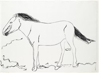 mongolian wild horse (study for vanishing animals), synthetic polymer paint, auf festem by andy warhol