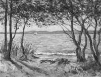uferlandschaft mit bäumen an einem see by louis lejeune
