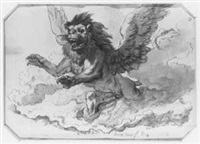 ein über wolken schwebender geflügelter löwe by w. p. de quincey