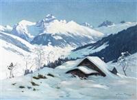 winterlandschaft bei engelberg mit dem hahnen by jean joseph seraphin renggli the youmger