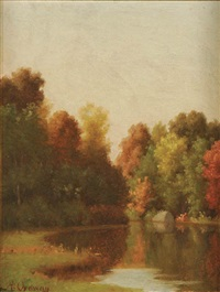 fall landscape with pond by alfred t. ordway