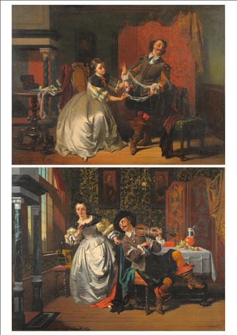 gentleman winding wool with a lady in an ornate interior musical serenade gentleman playing a violin beside a table pair by casimir van den daele