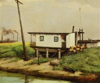 mississippi river houseboat on pilings, steamboat in distance by claude d. jackson