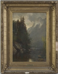 rowing on a lake in the white mountains by samuel lancaster gerry