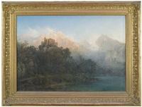 hochgebirgslandschaft mit imposanter burganlage auf einer anhöhe oberhalb eines sees by julius lange