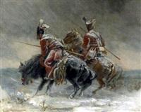 berittene wachposten im wintersturm by emil rumpf