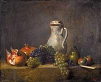 stillleben mit trauben, granatäpfeln und kanne by l. retru