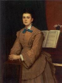 portræt af operasangerinde lona gulowsen stående ved klaver by peter nicolai arbo