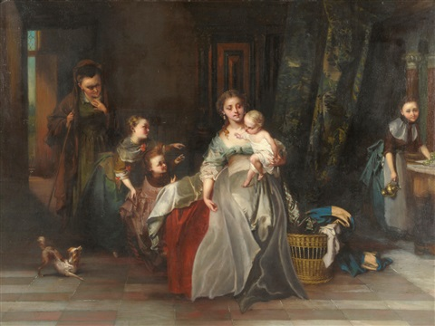 the centre of attention interior scene with a lady holding a baby other children nearby by casimir van den daele