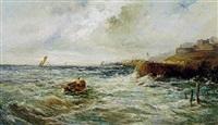 marine med sejlskibe og fiskebåd ud for klippekyst by louis eugène leroux