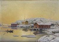 gullholmen vintermorgon by arvid magnus ahlberg