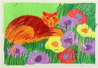 cat amongst flowers by walasse ting