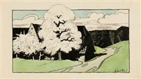 märkische landschaft mit bauerngehöft by walter leistikow