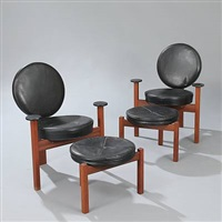 armchairs and stools (set of 4) by bent møller jepsen