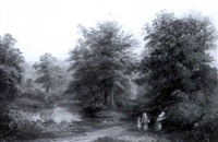 three children berry-picking by a woodland stream by joseph mellor