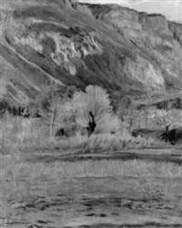 landschaft mit steiler felswand by alfred rehfous