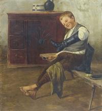 interieur mit knabe beim schuhe putzen by géza peske