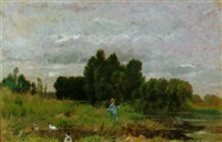 landschaft mit jungem angler by amable louis pinta