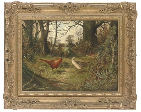 pheasants on a wooded path with a gate beyond by ben hold