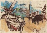 fischer mit boot by carl ernst (karli sohn) sohn-rethel