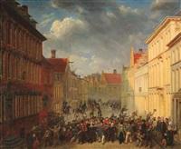 der aufstand der bürger von antwerpen gegen die niederländer am 21. mai 1833 auf dem hauptplatz by jacob johann verreyt