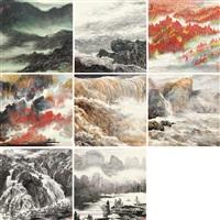 山水清音 (八幅) (landscape) (set of 8) by xu zhiwen