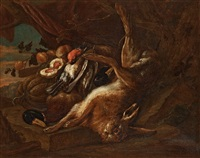 still life with rabbit, duck and small birds by adriaen de gryef