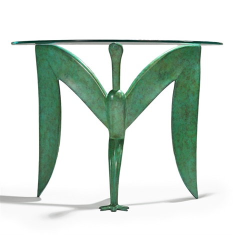 ibis console table with demi lune top by judy mckie