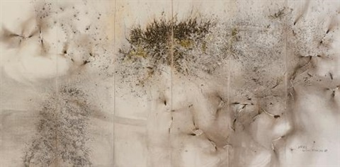 two lions hexaptych by cai guo qiang