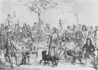 studenten des bonner corps palatia vor ansicht des siebengebirges mit ölberg, drachenfels und godesburg by w. hess