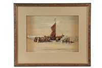 women welcoming fishermen home from sea by edward burrill