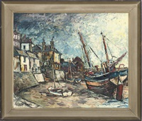 boats moored in the harbour by george hann