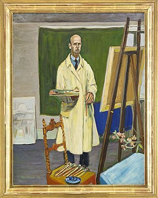 självporträtt interiör från konstnärens ateljé by axel nilsson
