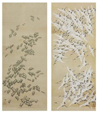one hundred cranes (+ one hundred turtles; pair) by tani buncho
