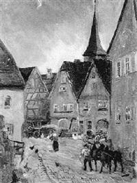 nächtliche dorfstraße mit pferdgespann by wilhelm runze