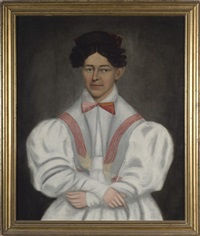 portrait of julie smith in a white dress with red sash by erastus salisbury field