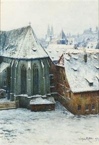 fachwerkhäuser und kirche in alt-nürnberg by wilhelm ritter