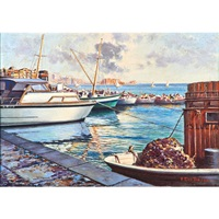 boats in a marina (both framed) (2 works) by fernando del basso