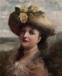 woman in yellow rose hat by william h. mcentee